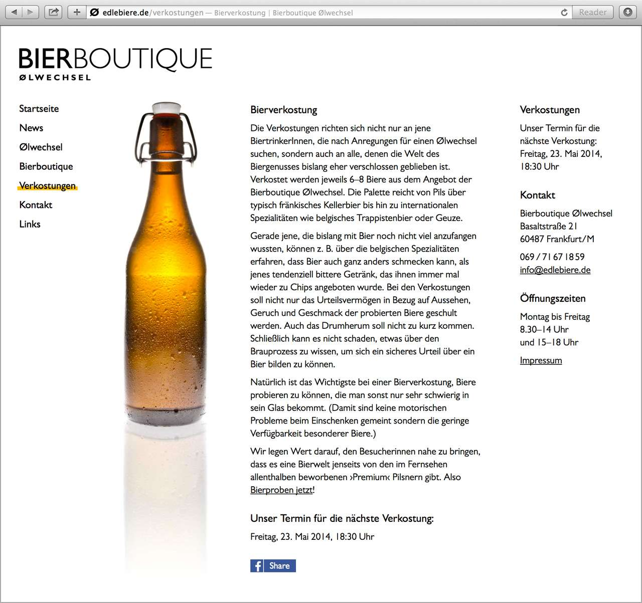 Screenshot der Website der Bierboutique Ølwechsel