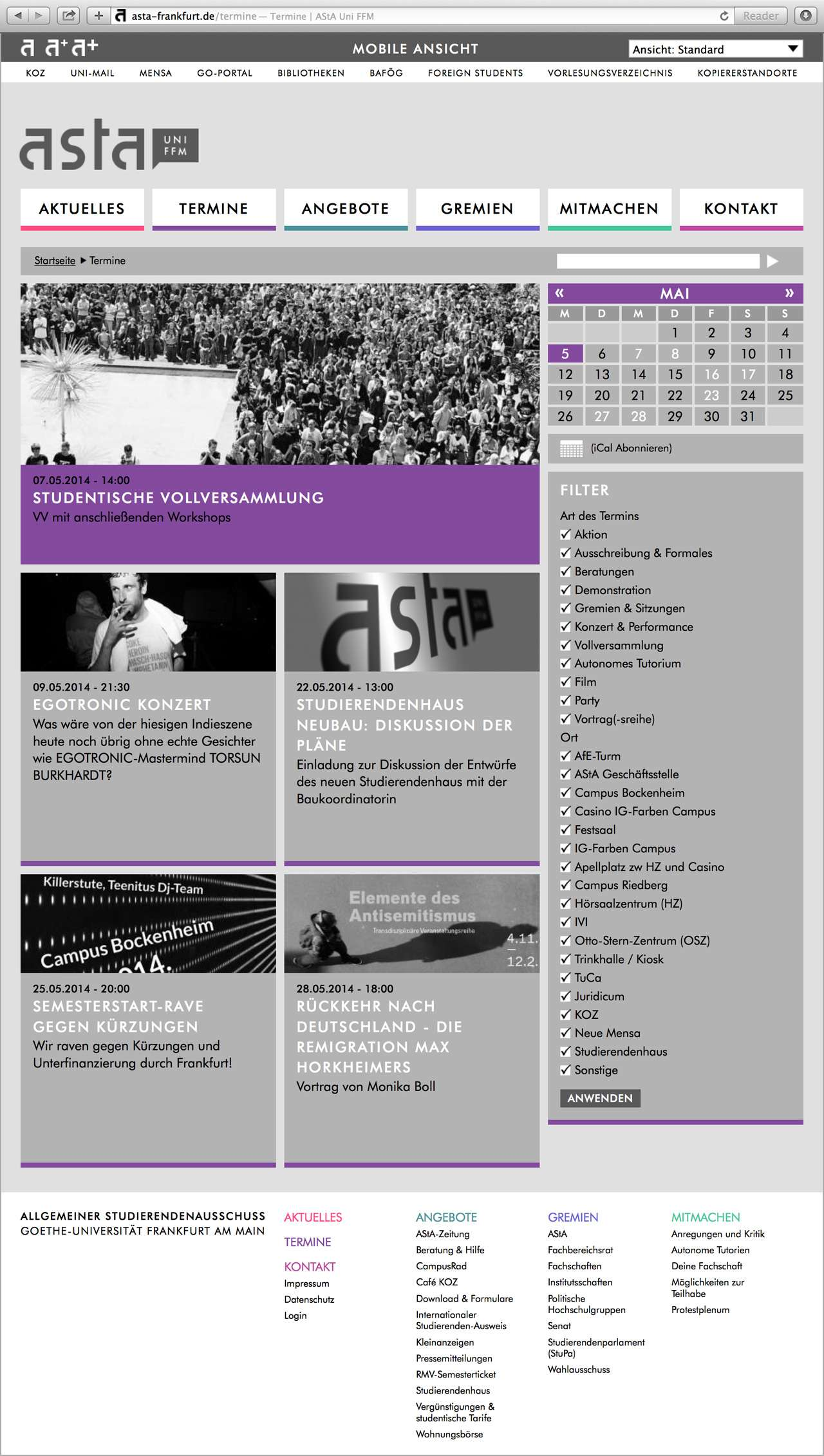 Screenshot der Terminseite der AStA-Website