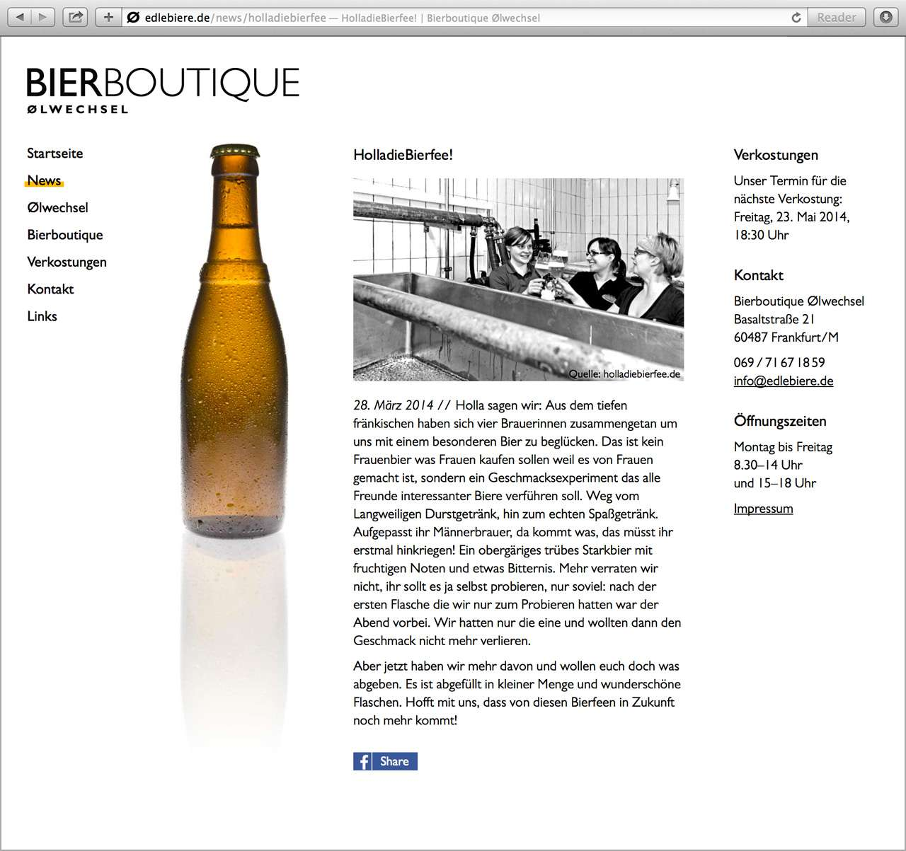 Screenshot der Website der Bierboutique Ølwechsel – News-Bereich