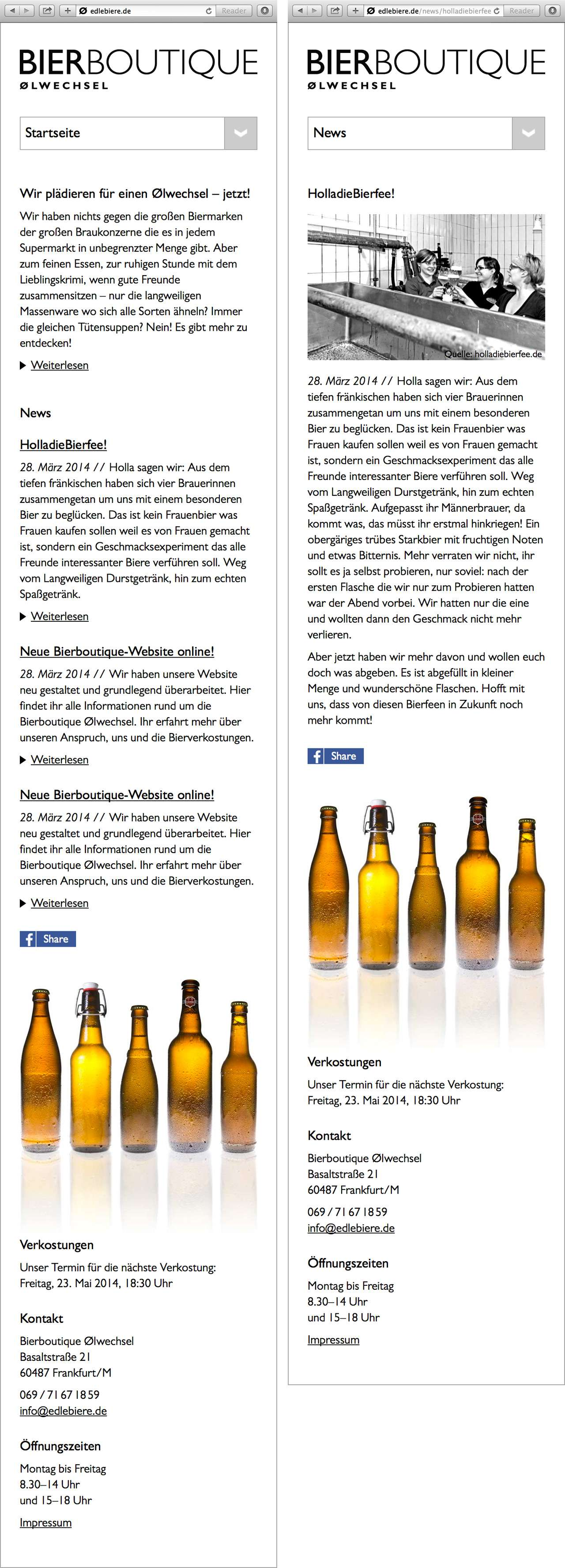 Screenshots der mobilen Version der Website der Bierboutique Ølwechsel